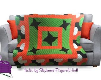 Bowtie Bounce Quilt Afghan, C2C Crochet Pattern, Written Row by Row, Color Counts, Instant Download, C2C Graph, C2C Pattern, Graphgan