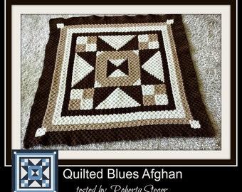Quilted Blues Afghan, C2C Crochet Pattern, Written Row Counts, C2C Graphs, Corner to Corner, Crochet Pattern, C2C Graph