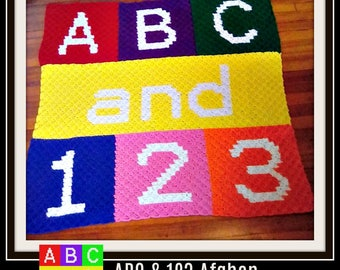 ABC and 123, ABC crochet pattern, ABC C2C Graph, Baby Afghan, Kids Afghan, Corner to Corner, C2C Graph