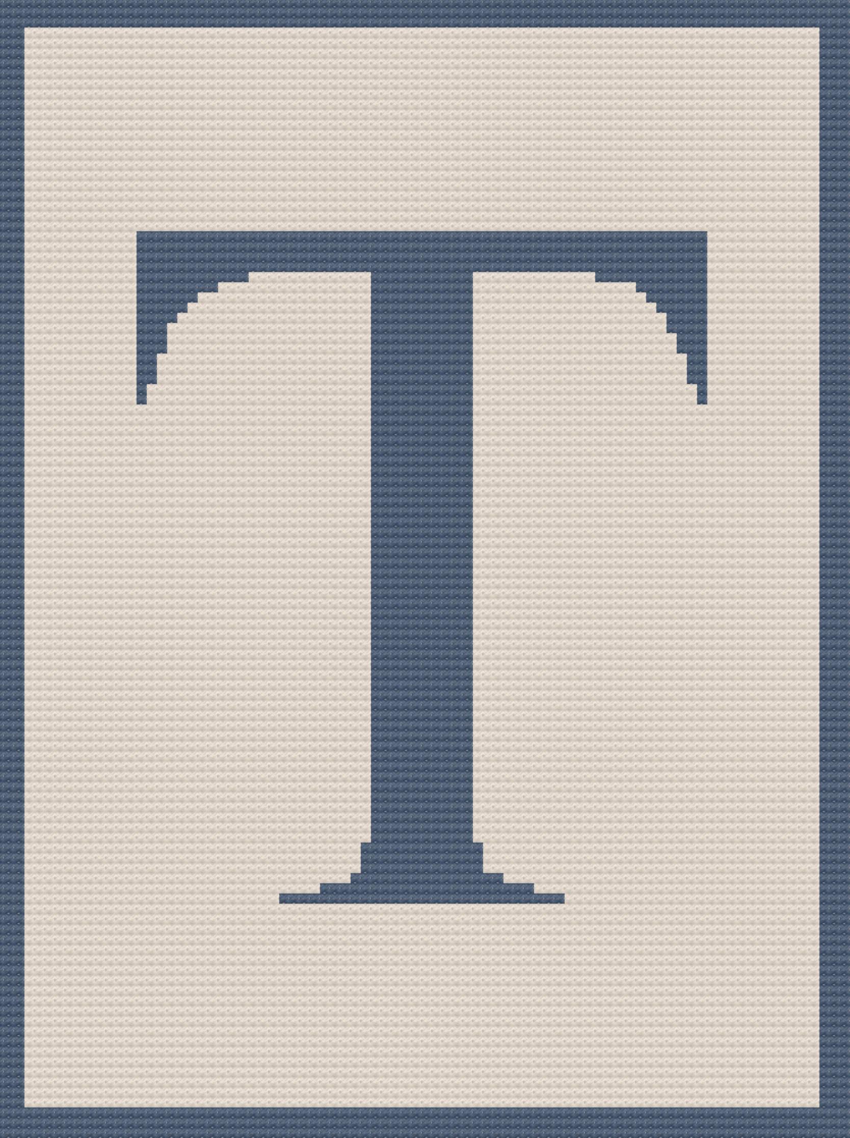 Letter T Twin Afghan C2c Crochet Pattern Written Row By Row