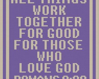 Romans 8:28 Afghan, C2C Crochet Pattern, Written Row by Row, Color Counts, Instant Download, C2C Graph, C2C Pattern, C2C Crochet, Graphgan
