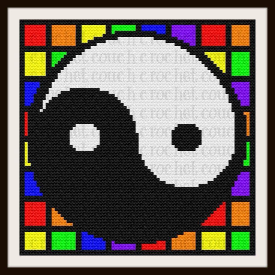 Yin Yang Afghan C2c Crochet Pattern Written Row Counts C2c Graphs