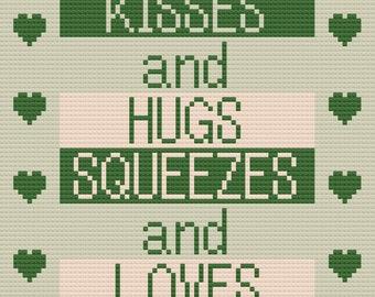 Kisses and Hugs Afghan, C2C Crochet Pattern, Written Row Counts, C2C Graphs, Corner to Corner, Crochet Pattern, C2C Graph INSTANT DOWNLOAD