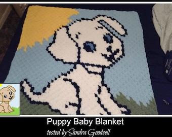 Puppy Baby Blanket, C2C Crochet Pattern, Written Row Counts, C2C Graphs, Corner to Corner Crochet Pattern, C2C Graph