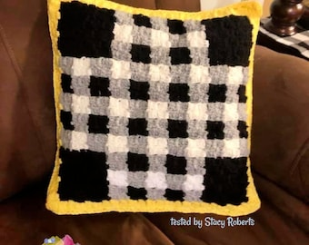 Checkered Pillow, C2C Crochet Pattern, Written Row by Row, Color Counts, Instant Download, C2C Graph, C2C Pattern, Crochet Pillow