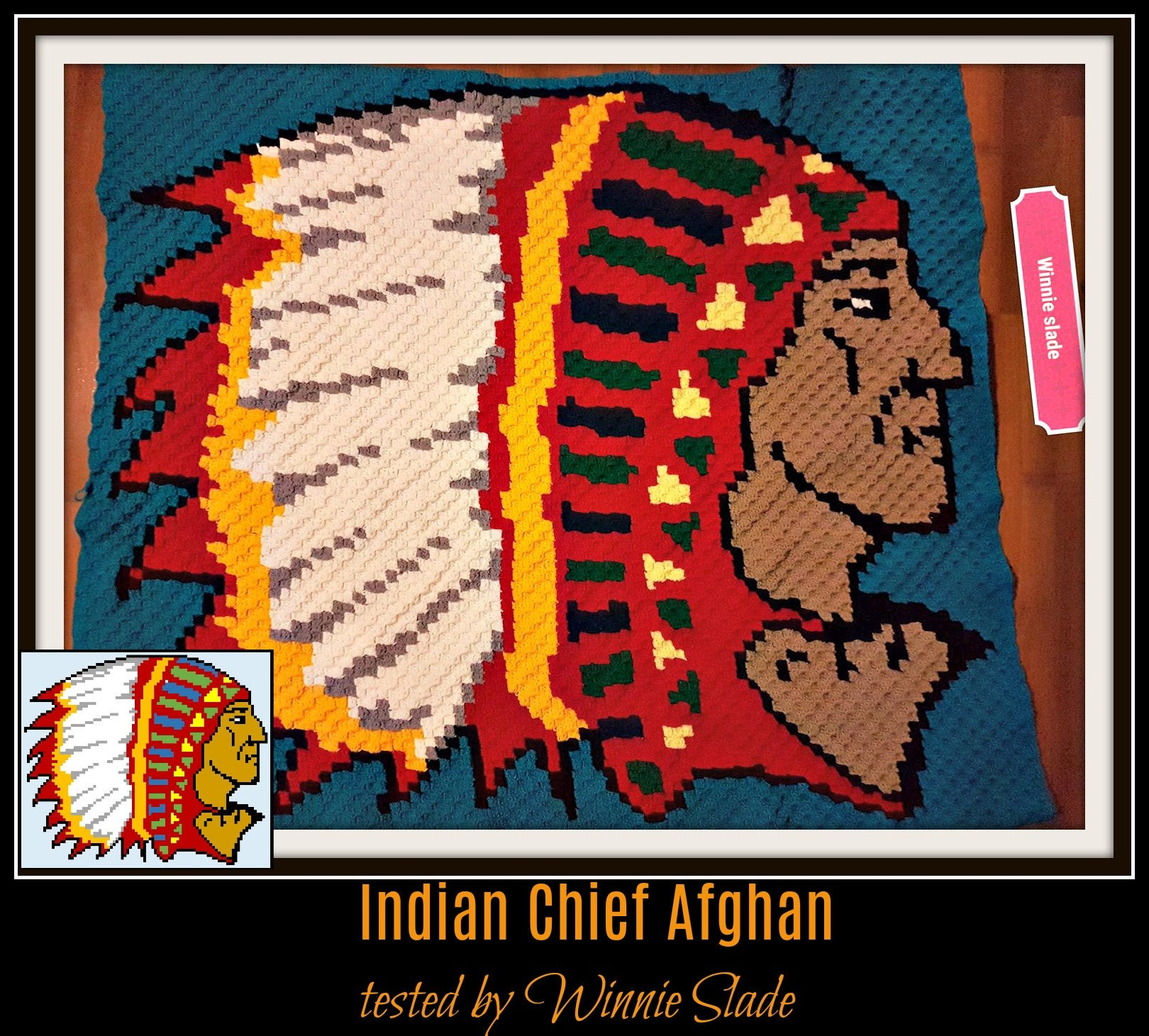 Indian Chief Afghan, C2C Crochet Pattern, Written Row