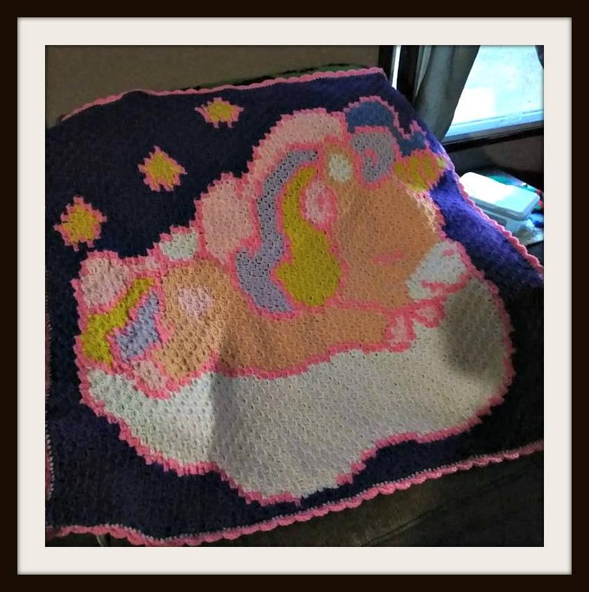 Unicorn Baby Afghan In Navy Crochet Pattern Unicorn C2c Graph
