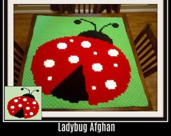 Ladybug Baby Afghan, C2C Crochet Pattern, Written Row Counts, C2C Graphs, Corner to Corner, Crochet Pattern, C2C Graph