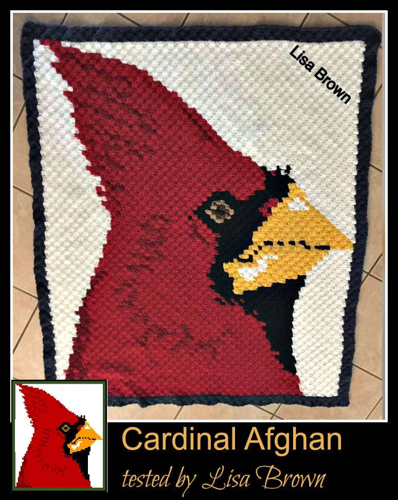 Cardinal Afghan, C2C Crochet Pattern, Written Row Counts