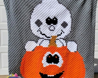 Silly Pumpkin Ghost Afghan, C2C Crochet Pattern, Written Row by Row, Color Counts, Instant Download, C2C Graph, C2C Pattern, C2C Crochet