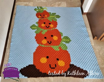 Pumpkin Tower Afghan, C2C Crochet Pattern, Written Row by Row, Color Counts, Instant Download, C2C Graph, C2C Pattern, C2C Crochet, Graphgan