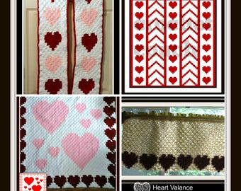Love is in the Air, Set of 5 Crochet Patterns, C2C Crochet Pattern, Written Row Counts, C2C Graphs, Corner to Corner, Crochet Pattern