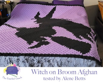 Witch on Broom Afghan, C2C Crochet Pattern, Written Row by Row, Color Counts, Instant Download, C2C Graph, C2C Pattern, C2C Crochet