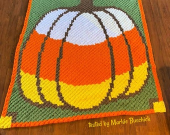 Candy Corn Pumpkin Afghan, C2C Crochet Pattern, Written Row by Row, Color Counts, Instant Download, C2C Graph, C2C Pattern, Graphgan Pattern