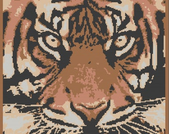 Tiger Head Afghan , SC / TSS Crochet Pattern, Written Row Counts for single crochet and tunisian simple stitch