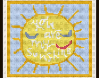 You Are My Sunshine,  C2C Graph & Written Word Chart, Sunshine Afghan
