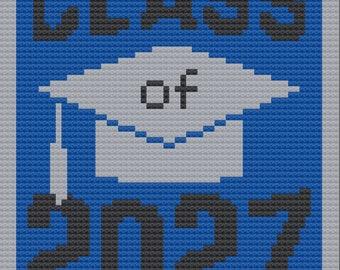 Class of 2027 afghan, C2C Crochet Pattern, Written Row Counts, C2C Graphs, Corner to Corner, Crochet Pattern, C2C Graph