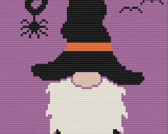 Halloween Gnome Afghan, C2C Crochet Pattern, Written Row by Row, Color Counts, Instant Download, C2C Graph,  C2C Crochet, Graphgan