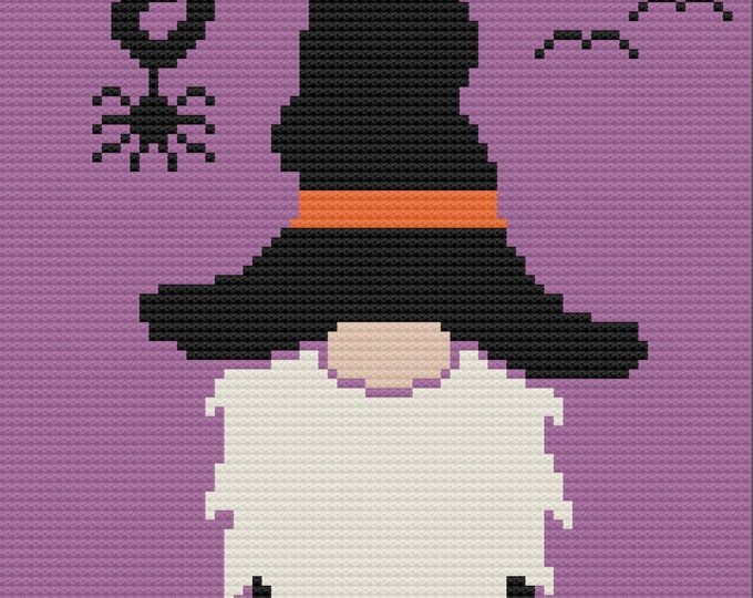 Featured listing image: Halloween Gnome Afghan, C2C Crochet Pattern, Written Row by Row, Color Counts, Instant Download, C2C Graph,  C2C Crochet, Graphgan