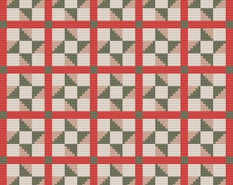 Christmas Quilt Afghan, C2C Crochet Pattern, Written Row by Row, Color Counts, Instant Download, C2C Graph, C2C Pattern, Graphgan Pattern
