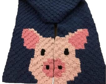 Pig Scarf, C2C Crochet Pattern, Written Row Counts, C2C Graphs, Corner to Corner, Crochet Pattern, C2C Graph