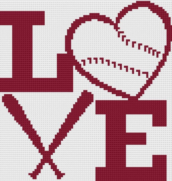 Love Baseball with Bats Afghan, C2C Crochet Pattern, Written Row Counts,  C2C Graphs, Corner to Corner, Crochet Pattern, C2C Graph