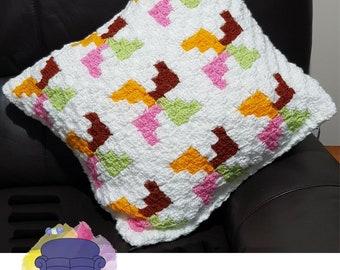 Pinwheels Pillow, C2C Crochet Pattern, Written Row by Row, Color Counts, Instant Download, C2C Graph, C2C Pattern, Crochet Pillow