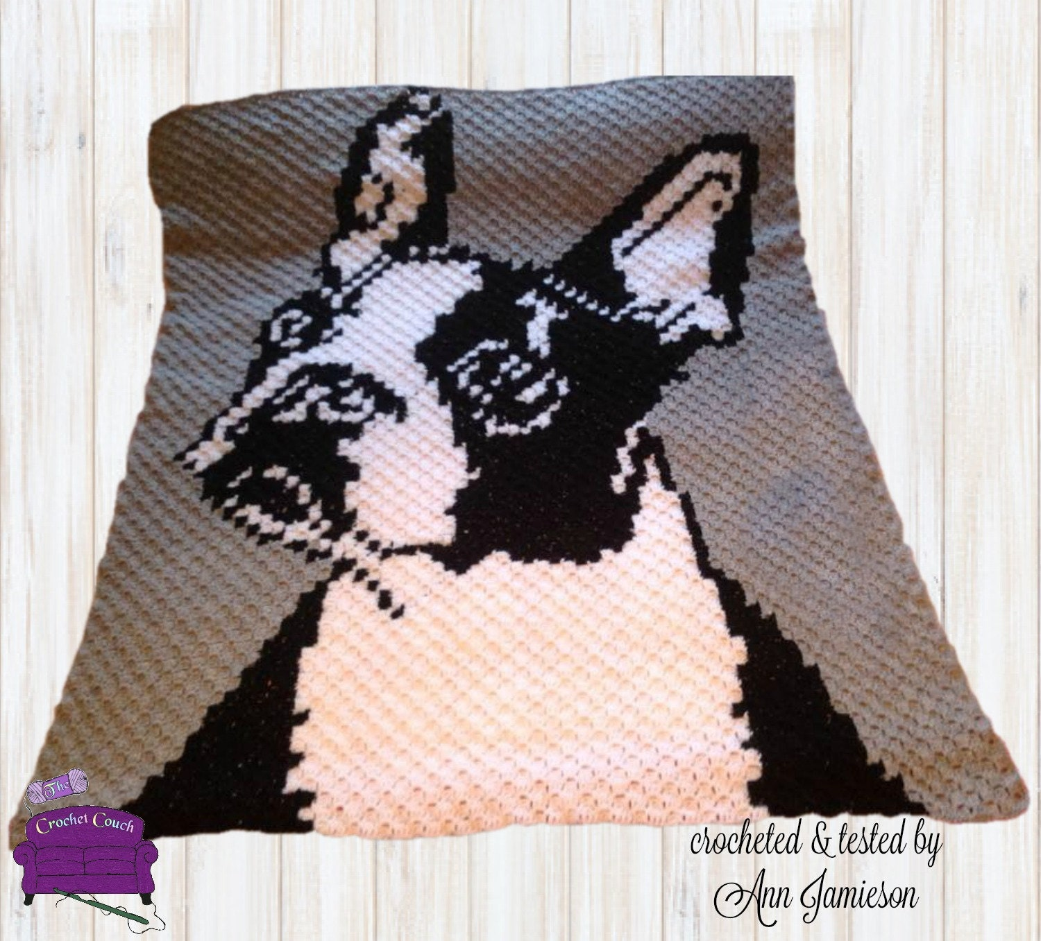 Boston Terrier, C2C Crochet Pattern, Written Row Counts