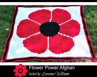 Flower Power Afghan, C2C Crochet Pattern, Written Row Counts, C2C Graphs, Corner to Corner, Crochet Pattern, C2C Graph