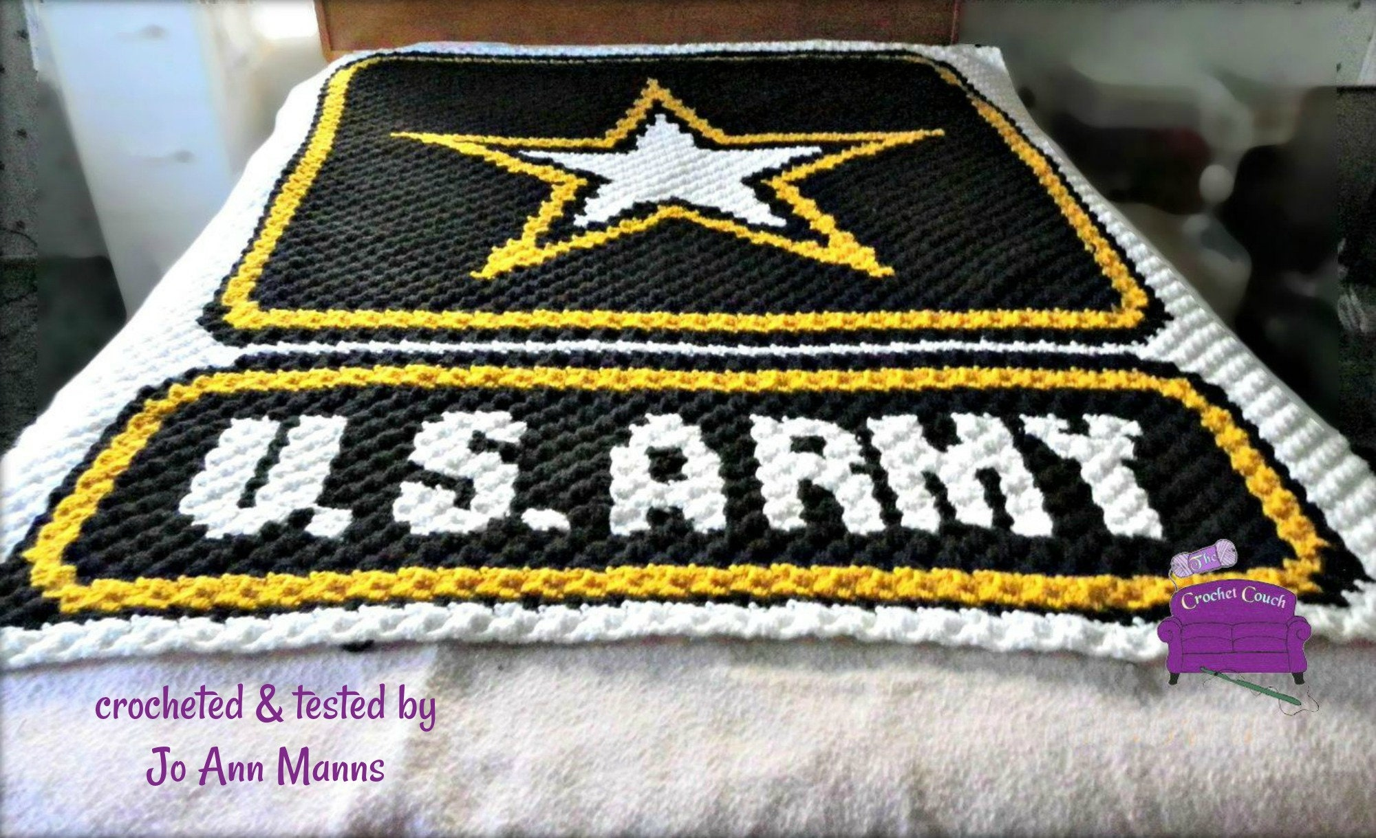 Army Afghan, C2C Crochet Pattern, Written Row by Row, Color