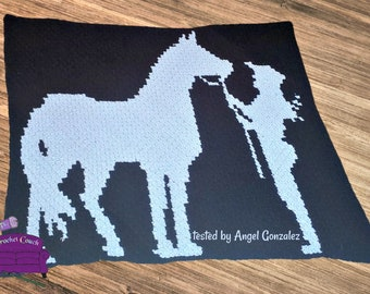 Horse and Rider, Silhouette, Afghan, C2C Crochet Pattern, Written Row Counts, C2C Graphs, Corner to Corner Crochet Pattern, C2C Graph