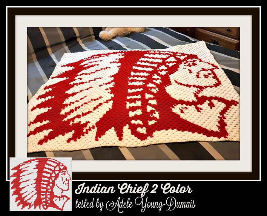 Indian Chief Afghan, 2 Color C2C Graph, Crochet Pattern