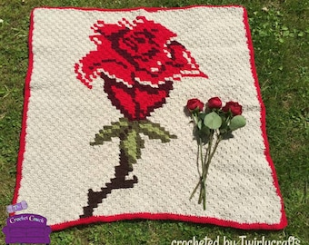 Single Rose Throw, C2C Crochet Pattern, Written Row by Row, Color Counts, Instant Download, C2C Graph, C2C Pattern, Graphgan Pattern