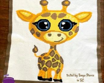 Baby Giraffe Afghan, sc Crochet Pattern, tss Crochet Pattern, Written Row by Row, Color Counts, Instant Download, sc Graph, tss Graph