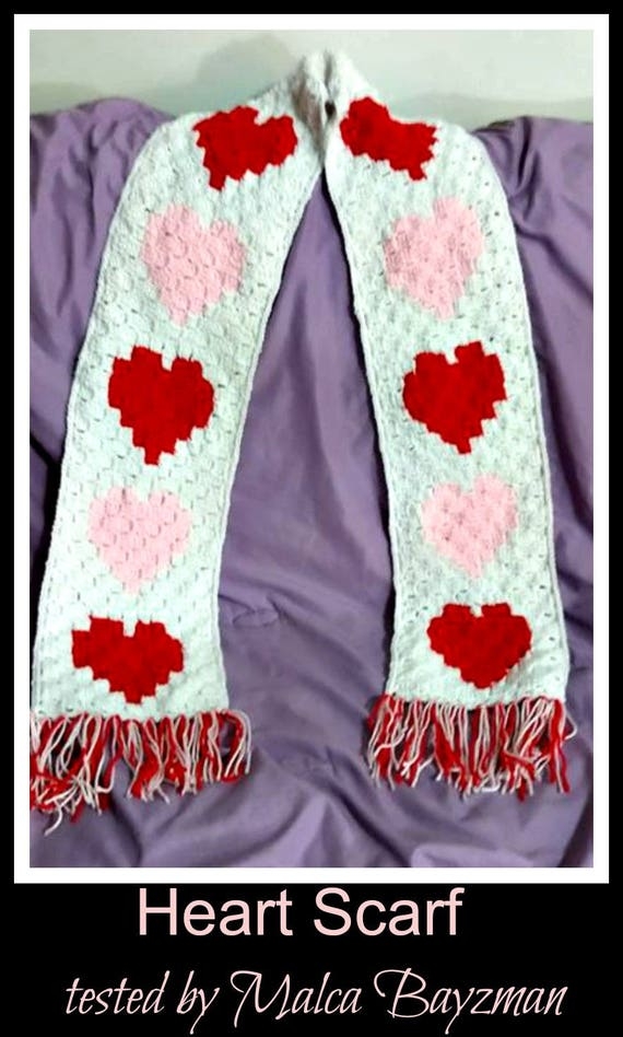 Hearts Scarf C2c Graph Crochet Pattern Etsy
