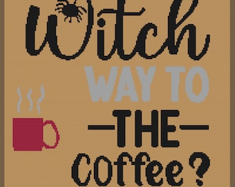 Witch Way to the Coffee Afghan, sc Crochet Pattern, tss Crochet Pattern, Written Row by Row, Color Counts, Instant Download, sc Graph, tss