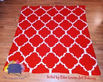 Quatrefoil Afghan, C2C Crochet Pattern, Written Row by Row, Color Counts, Instant Download, C2C Graph, C2C Pattern, Graphgan Pattern