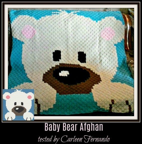 Teddy Bear Baby Afghan C2C Crochet Pattern Written Row | Etsy | 579x570