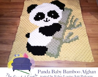 Panda Baby Bamboo Afghan, C2C Crochet Pattern, Written Row by Row, Color Counts, Instant Download, C2C Graph, C2C Pattern, C2C Crochet