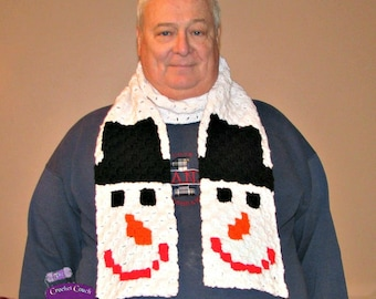 Snowman Scarf, C2C Crochet Pattern, Written Row Counts, C2C Graphs, Corner to Corner, Crochet Pattern, C2C Graph