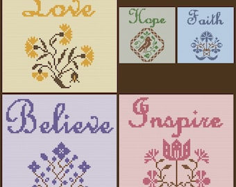 Inspiration Series Afghans, Set of 5, C2C Crochet Pattern, Written Row by Row, Color Counts, Instant Download, C2C Graph, C2C Pattern