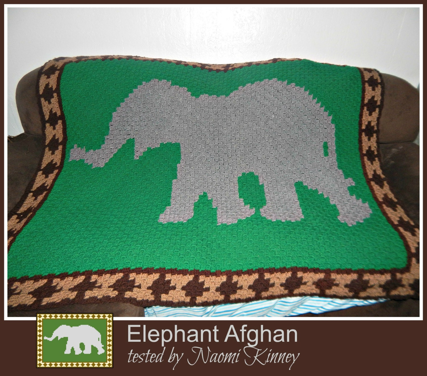 Elephant Afghan, C2C Crochet Pattern, Written Row Counts