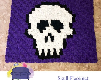 Skull Placemat, C2C Crochet Pattern, Written Row by Row, Color Counts, Instant Download, C2C Graph, C2C Pattern