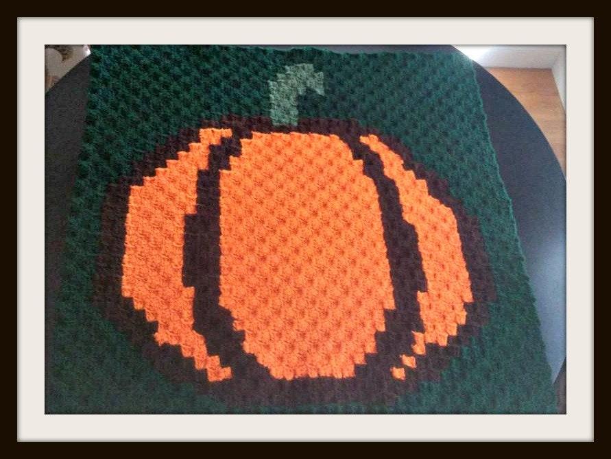 Pumpkin Square C2c Crochet Pattern Written Row Counts C2c