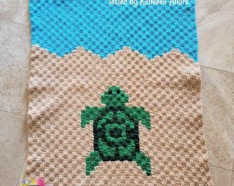 Turtle Baby Afghan, C2C Crochet Pattern, Written Row by Row, Color Counts, Instant Download, C2C Graph, C2C Pattern, C2C Crochet, Graphgan