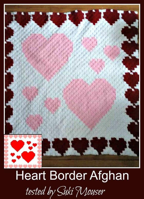 Hearts Border Afghan, C2C Crochet Pattern, Written Row Counts, C2C Graphs,  Corner to Corner, Crochet Pattern, C2C Graph