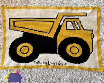 Dump Truck Afghan, sc Crochet Pattern, tss Crochet Pattern, Written Row by Row, Color Counts, Instant Download, sc Graph, tss Graph