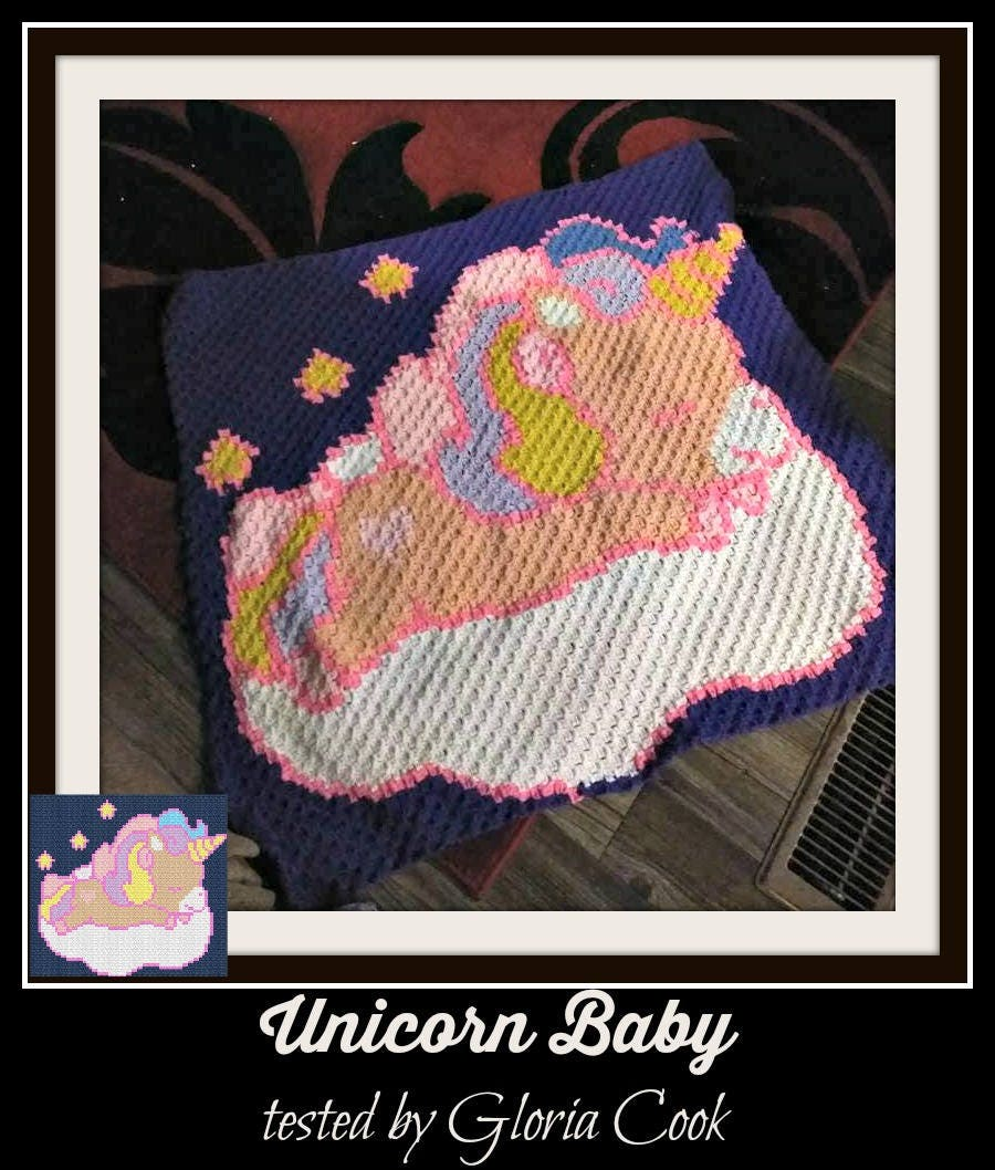 Unicorn Baby Afghan Blanket In Navy C2c Crochet Pattern Written