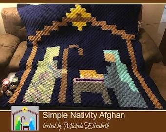 Nativity Pixel Afghan, C2C Crochet Pattern, Written Row Counts, C2C Graphs, Corner to Corner, Crochet Pattern, C2C Graph