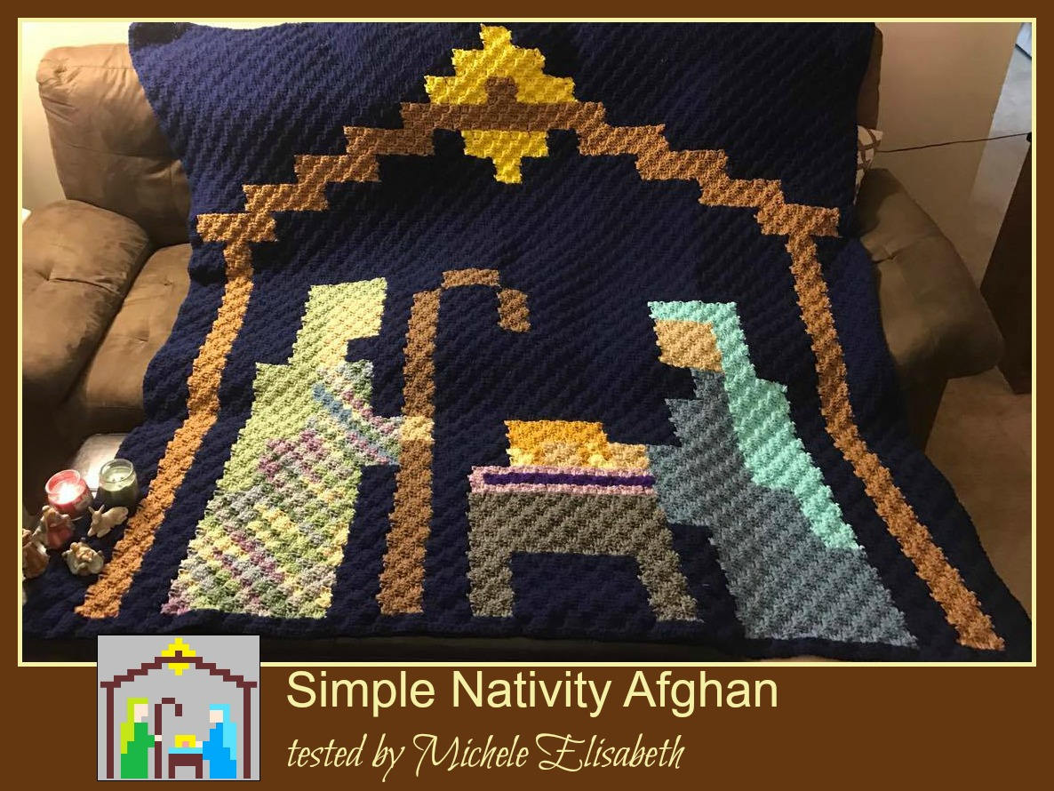 Nativity Pixel Afghan, C2C Crochet Pattern, Written Row